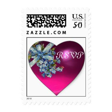 PINK HEART & FORGET ME NOTS WEDDING PARTY RSVP POSTAGE
