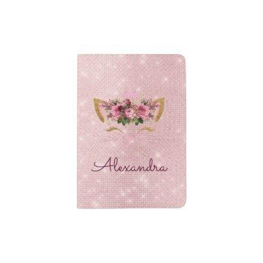 Pink Kitty Sparkle Princess Monogram Name Passport Holder