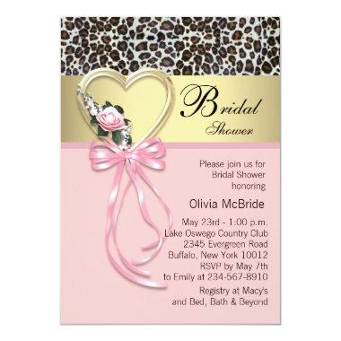 Pink Leopard Black Gold Leopard Bridal Shower Invitations