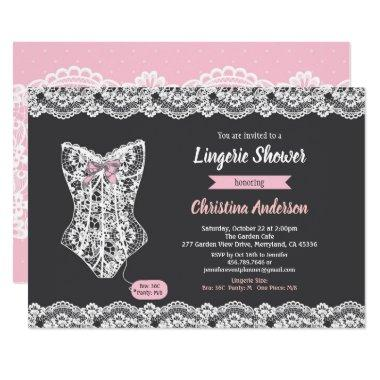 Pink lingerie shower Invitations chalkboard lace