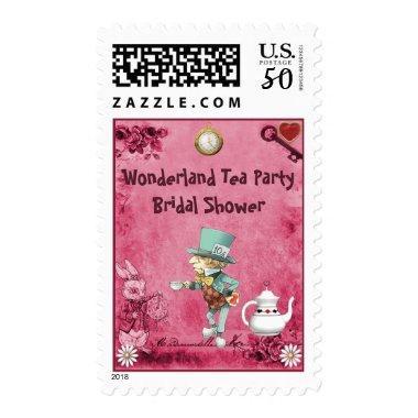 Pink Mad Hatter Wonderland Tea Party  Postage