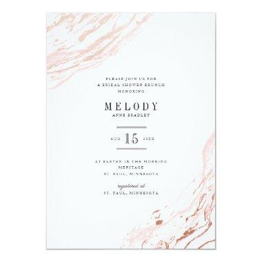 Pink Marble Modern Bridal Shower Invitations