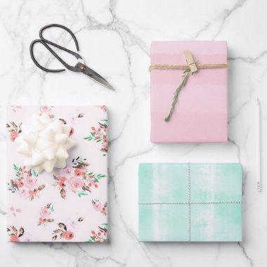 Pink & Mint Watercolor Floral and Subtle Stripes Wrapping Paper Sheets