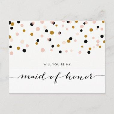 Pink Modern Confetti Will You Be My Maid of Honor Invitation Post