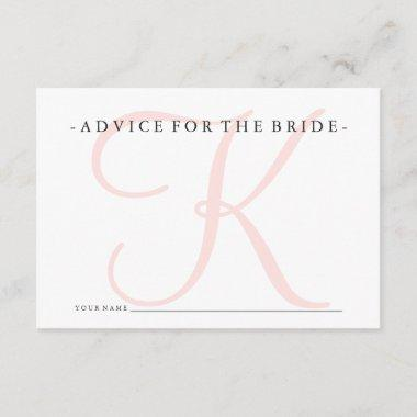 Pink Monogram Advice for the Bride Shower Game