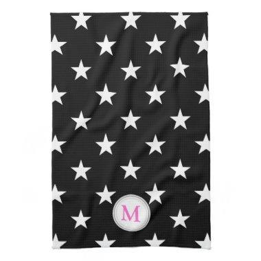 Pink Monogram: Black With White Stars Towel