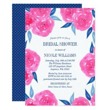 Pink Navy Blue Watercolor Flowers