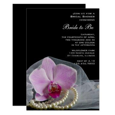 Pink Orchid and Pearls on Black Bridal Shower Invitations