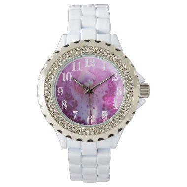 Pink orchid wedding wristwatch