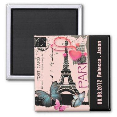 pink paris eiffel tower destination wedding magnet