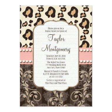 Pink Pearl Leopard Print Bridal Shower Invitations