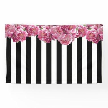 Pink Peonies Floral Backdrop Banner