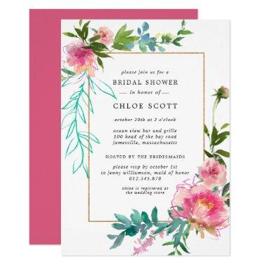 Pink Peony Floral Bridal Shower Invitations