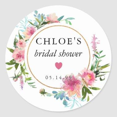 Pink Peony Watercolor Bridal Shower Favor Classic Round Sticker