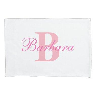 Pink Personalized Monogram Custom Pillow Case