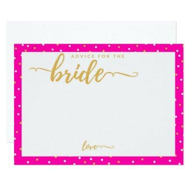 Pink Polka Dots Advice Card for Bride to Be