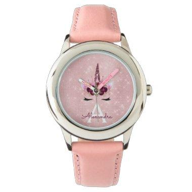 Pink Princess Unicorn Rose Gold Blush Pink Glitter Wrist Watch