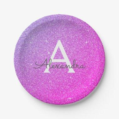 Pink Purple Glitter & Sparkle Monogram Birthday Paper Plate