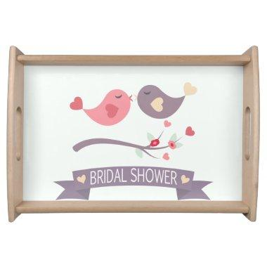 Pink, Purple Hearts Love Birds  Serving Tray
