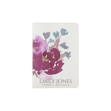 PINK PURPLE RED ORANGE WATERCOLOUR FLORAL MONOGRAM PASSPORT HOLDER