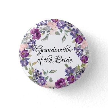 Pink & Purple Rose Floral Grandmother of the Bride Button