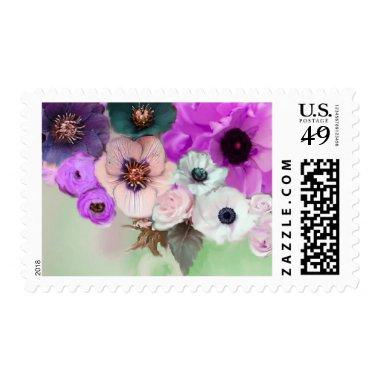 PINK PURPLE ROSES AND ANEMONE FLOWERS IN GREEN POSTAGE