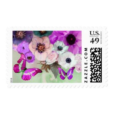 PINK PURPLE ROSES,ANEMONE FLOWERS AND BUTTERFLIES POSTAGE
