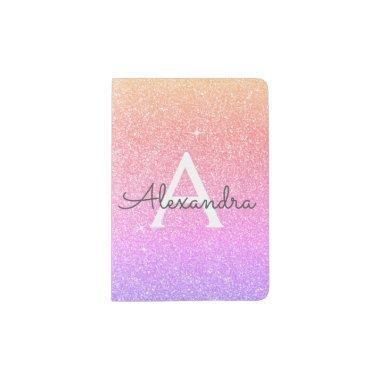 Pink - Purple Sparkle Glitter Monogram Name Passport Holder