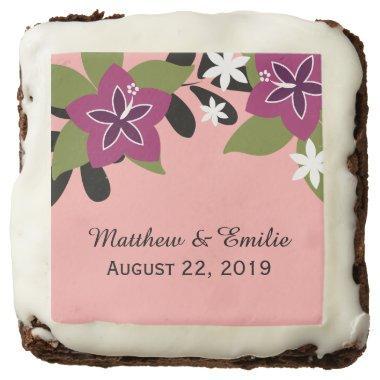 Pink Purple Tropical Floral Wedding Favor Chocolate Brownie