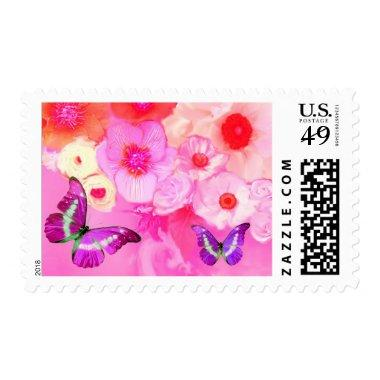 PINK RED ROSES,ANEMONE FLOWERS AND BUTTERFLIES POSTAGE