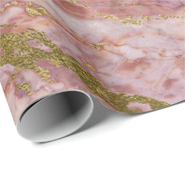 Pink Rose Blush Gold Marble Shiny Glam Wrapping Paper