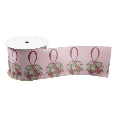 Pink Rose Floral Bouquet Bride Wedding Ribbon