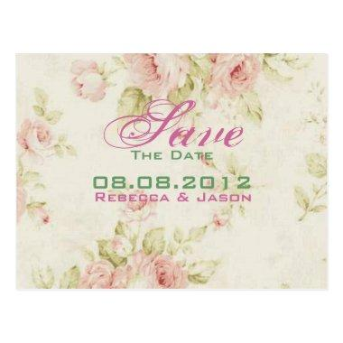 Pink rose Floral vintage wedding Save The date Post