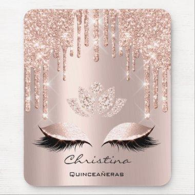Pink Rose Gold Blush Drip Sparkly Lotus Name Mouse Pad