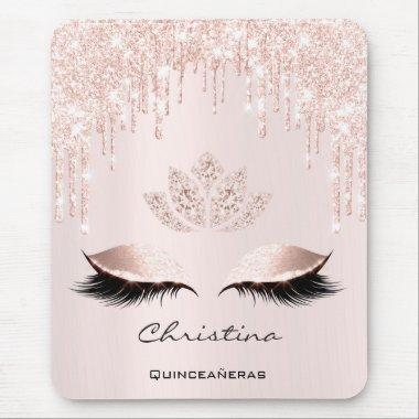 Pink Rose Gold Blush Drip Sparkly Lotus Name Pink Mouse Pad