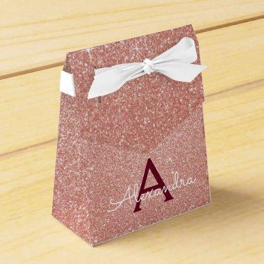 Pink Rose Gold Burgundy Glitter Sparkle Monogram Favor Box