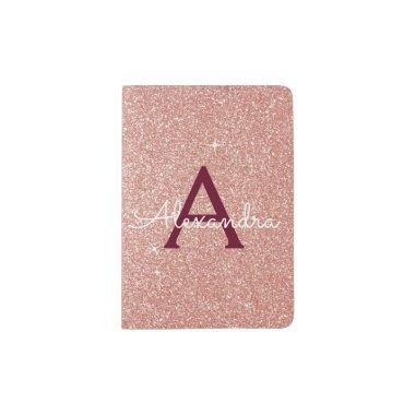 Pink Rose Gold Burgundy Sparkle Glitter Monogram Passport Holder