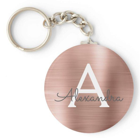Pink Rose Gold Faux Stainless Steel Monogram Keychain