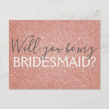 Pink Rose Gold Glitter and Sparkle Bridesmaid Invitation Post