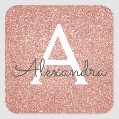 Pink Rose Gold Glitter and Sparkle Monogram Square Sticker