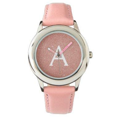 Pink Rose Gold Glitter and Sparkle Monogram Watch