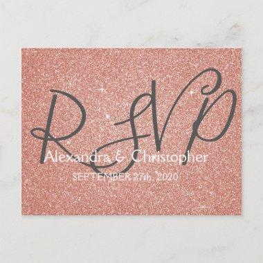 Pink Rose Gold Glitter and Sparkle RSVP Invitation PostInvitations