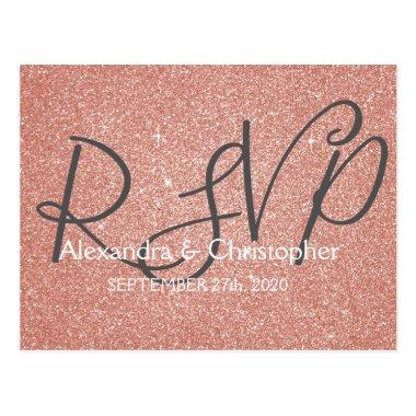 Pink Rose Gold Glitter and Sparkle RSVP Post