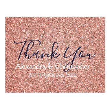 Pink Rose Gold Glitter and Sparkle Thank You PostInvitations
