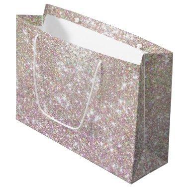 Pink Rose Gold Glitter Confetti Large Gift Bag