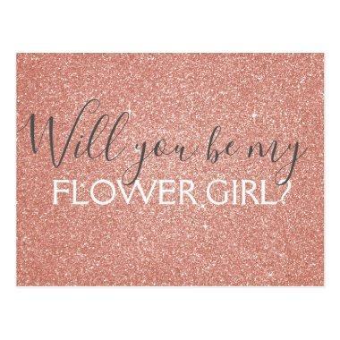 Pink Rose Gold Glitter & Sparkle Flower Girl Post