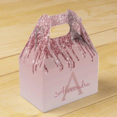 Pink Rose Gold Glitter & Sparkle Monogram Favor Box
