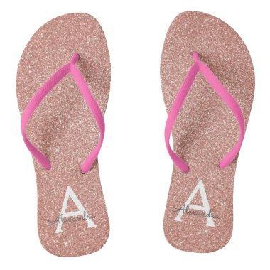 Pink Rose Gold Glitter & Sparkle Monogram Flip Flops