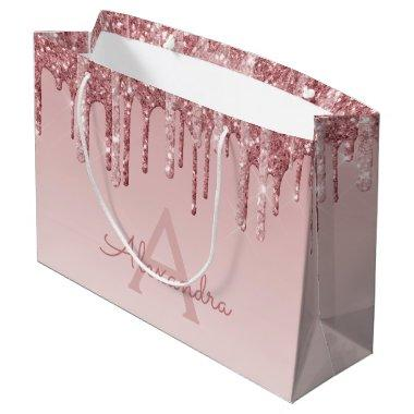 Pink Rose Gold Glitter & Sparkle Monogram Large Gift Bag