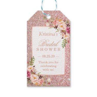 Pink Rose Gold Glitters Floral Bridal Shower Favor Gift Tags
